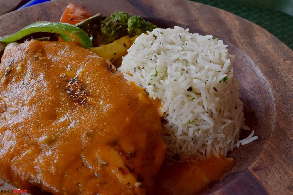 grilled chicken with herbed rice and peri peri sauce at hunger station, sohna road