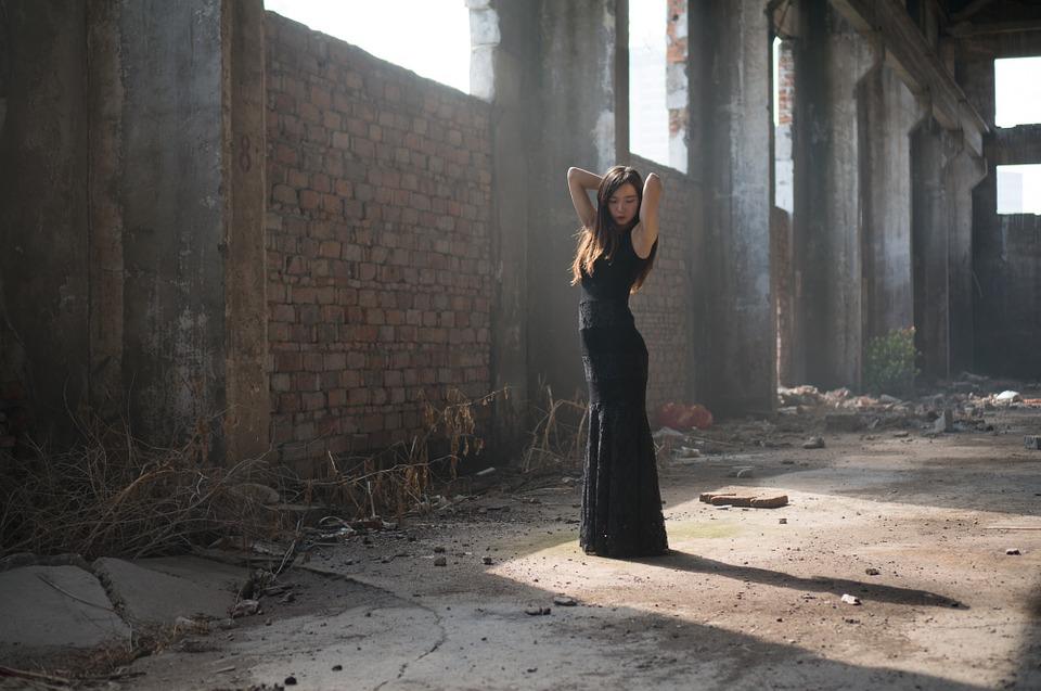 wearing a black dress
